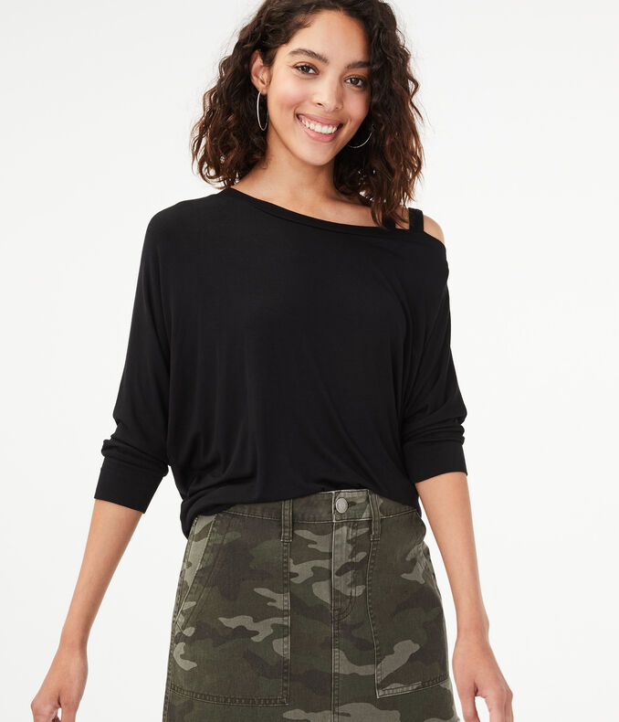 Seriously Soft Strappy Shoulder Dolman Top