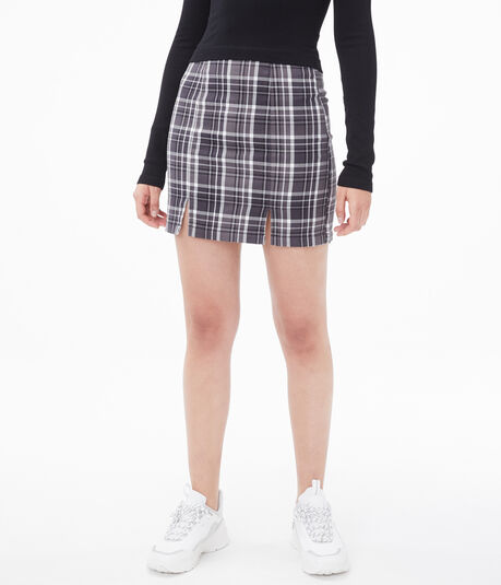Plaid Notched-Hem Skirt