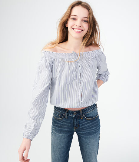 Long Sleeve Stripe Buttoned Off-The-Shoulder Crop Top