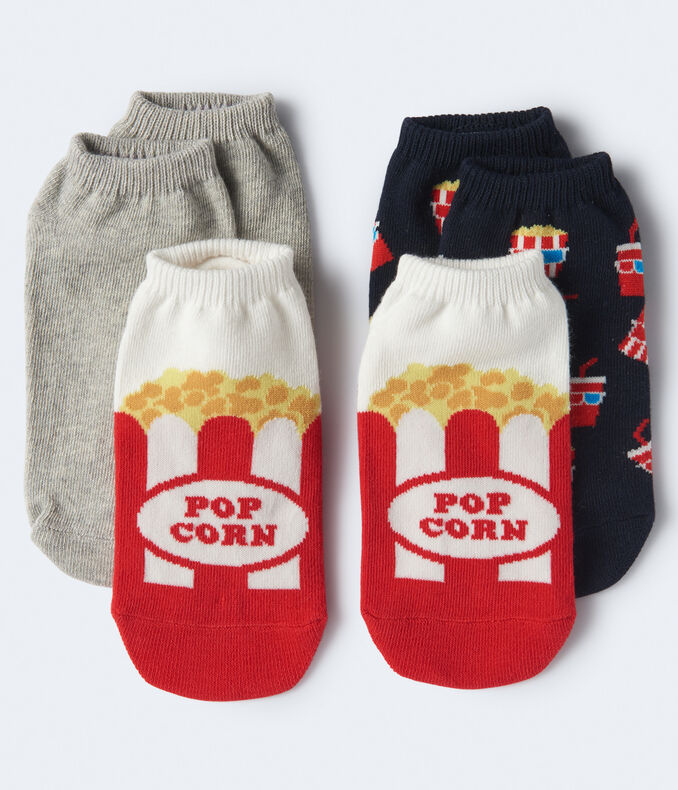 3-Pack Movie, Popcorn & Solid Ankle Socks