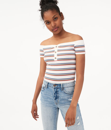Seriously Soft Striped Off-The-Shoulder Henley Bodycon Top