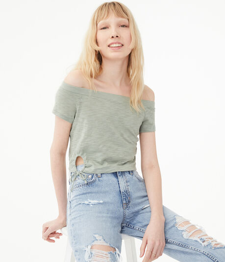 Tie Keyhole Off-The-Shoulder Crop Top