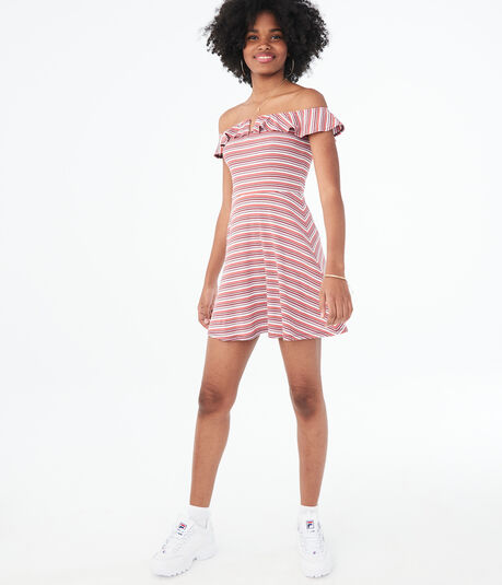 Striped V-Wire Off-The-Shoulder Fit & Flare Dress