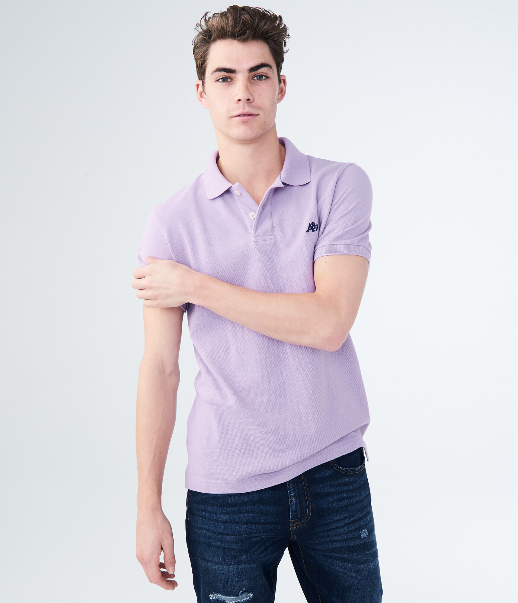 6-Pack Aeropostale Men's A87 Solid Logo Pique Polo Shirt