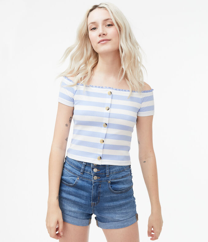Thick Stripe Off-The-Shoulder Bodycon Top