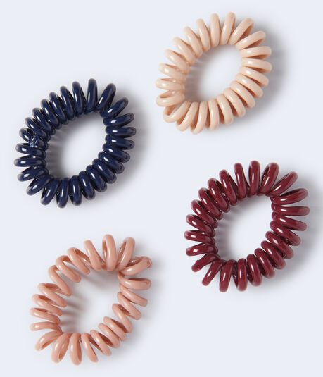Shiny Coil Hair Tie 4-Pack