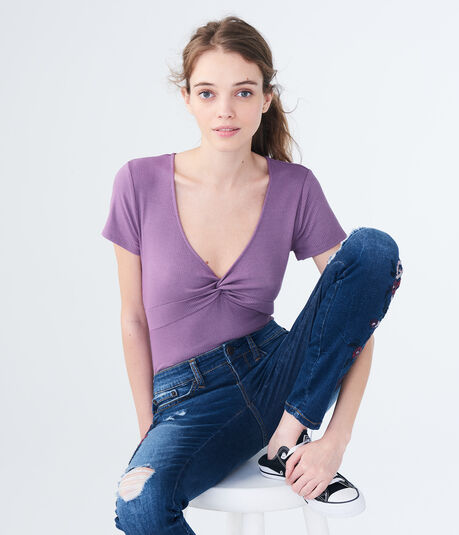 Solid Twist-Front V-Neck Top