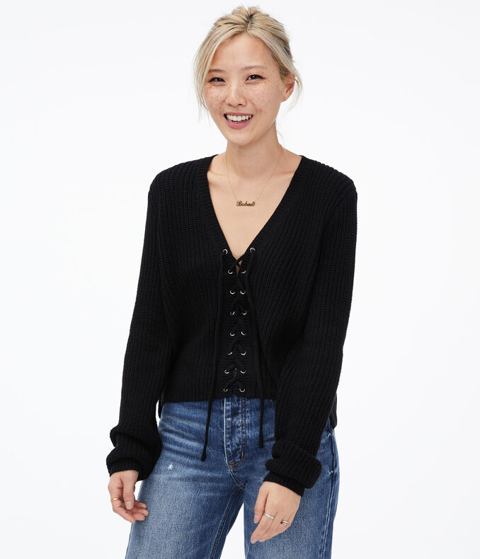 Lace Up V Neck Sweater by Aeropostale