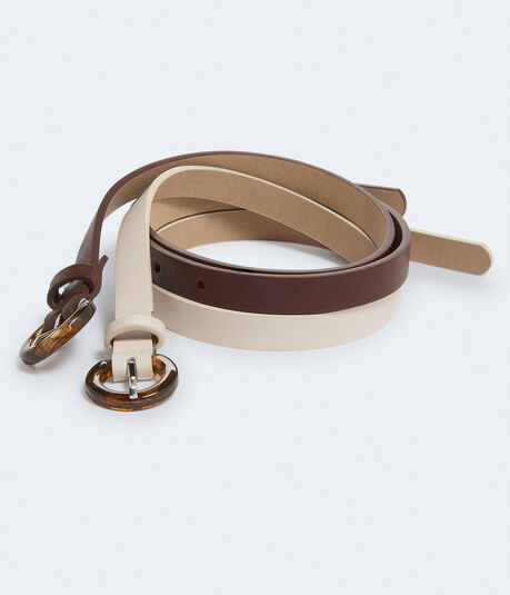 Thin Faux Leather Belt With Tortoiseshell Buckle 2-Pack