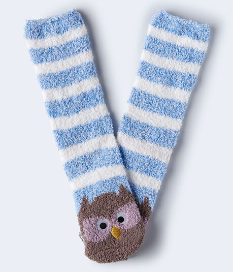 Owl Stripes Fuzzy Crew Socks