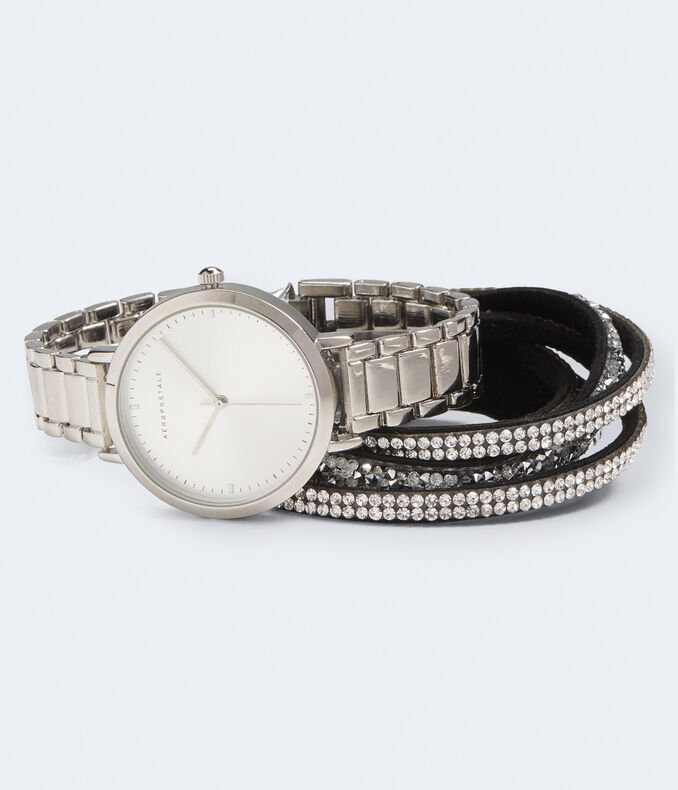 Metal Round Analog Watch & Wrap Bracelet Set