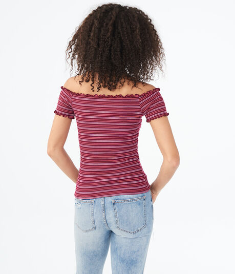 Striped Lettuce-Trim V-Wire Off-The-Shoulder Top