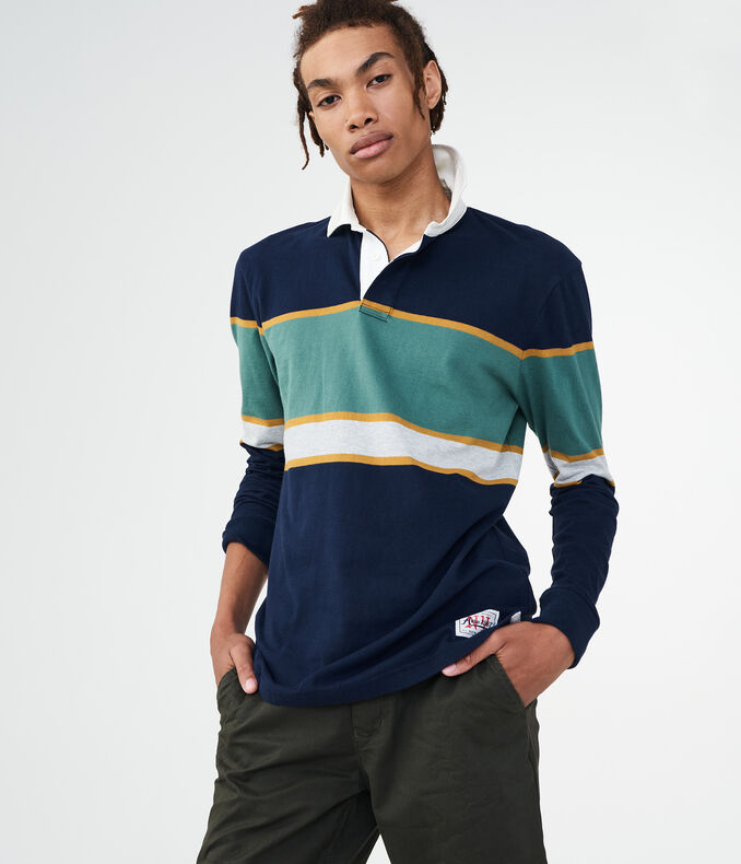 Long Sleeve Chest Stripe Rugby Polo