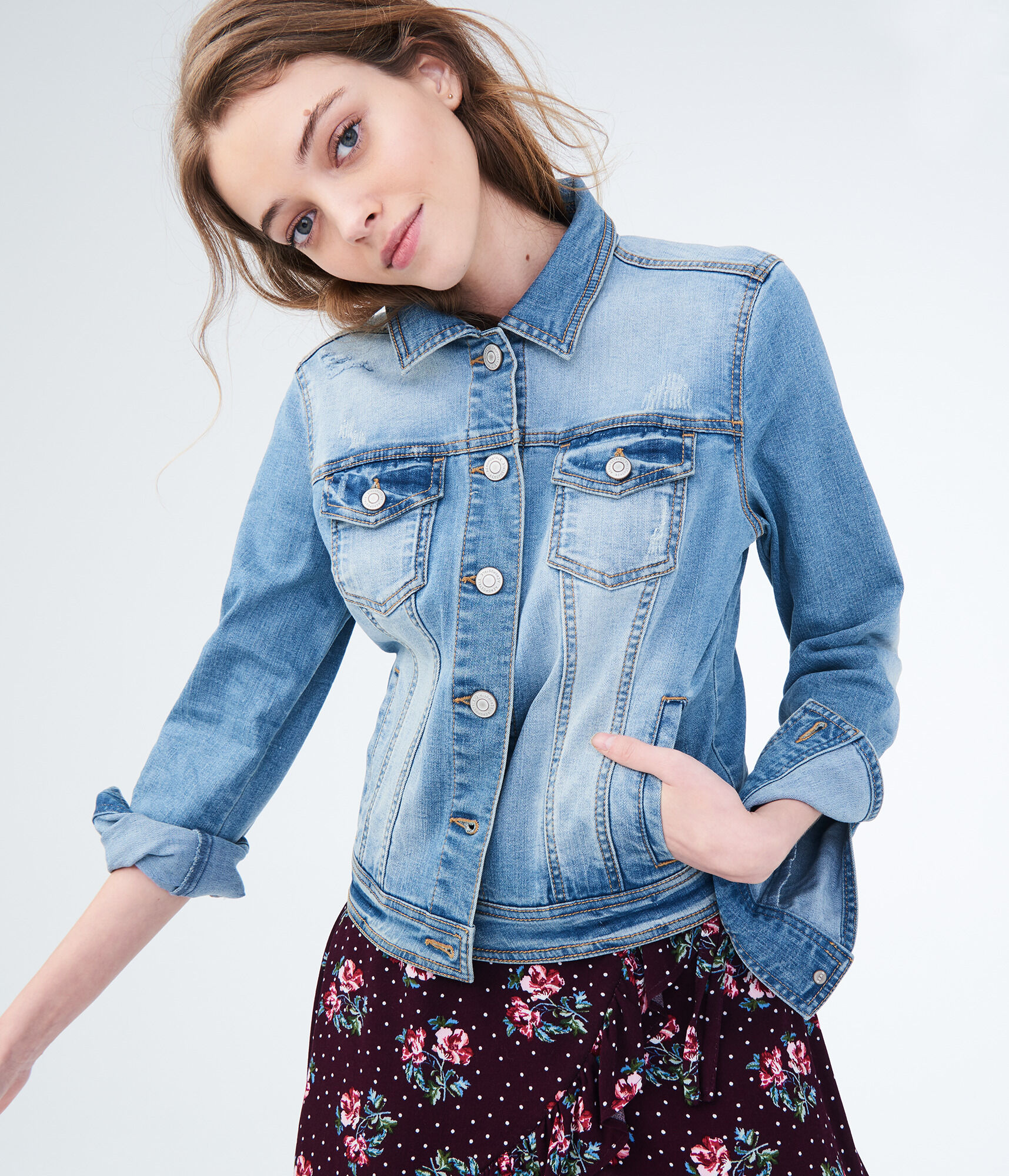 39061486e Seriously Stretchy Light Wash Denim Jacket