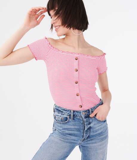 Seriously Soft Striped Buttoned Off-The-Shoulder Top