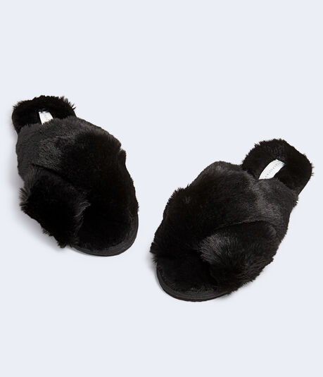 Faux Fur Crisscross Slide Slipper***