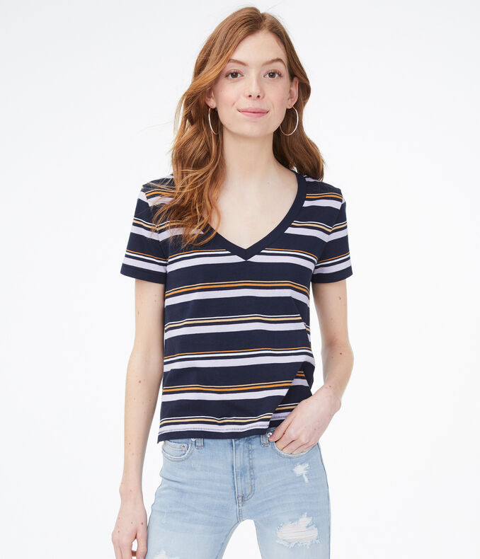 Striped Perfect Cotton V-Neck Tee