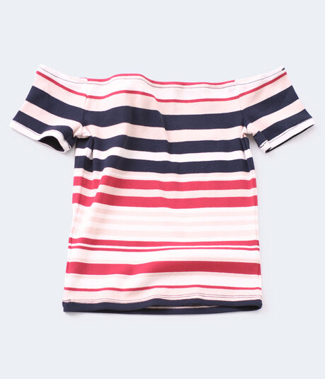 Stripe Off-The-Shoulder Zip Bodycon Top