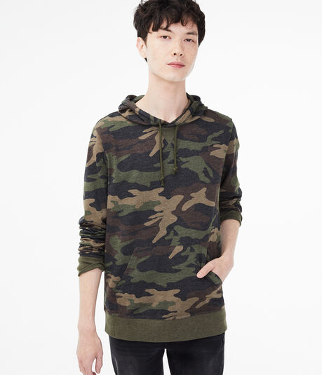 Long Sleeve Camo Hooded Tee