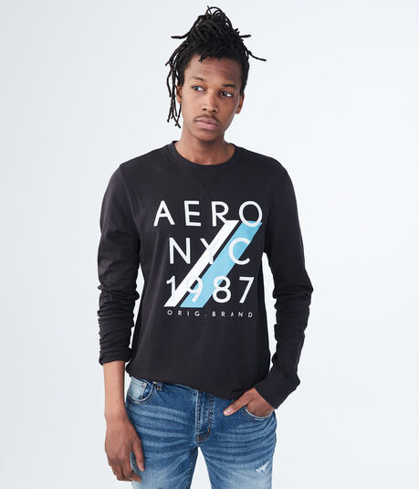 Long Sleeve Aero NYC 1987 Logo Graphic Tee