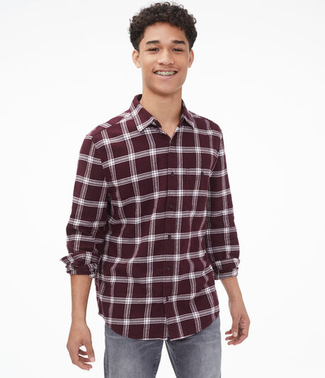 Long Sleeve Windowpane Plaid Button-Down Shirt