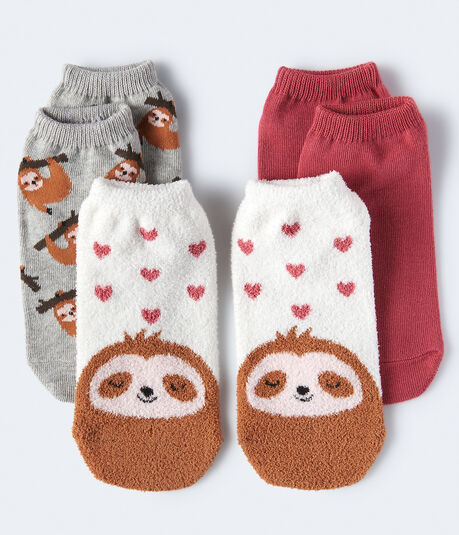 Fuzzy Sloth Ankle Sock 3-Pack