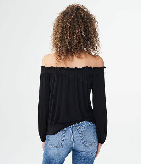 Long Sleeve Laced-Hem Off-The-Shoulder Top