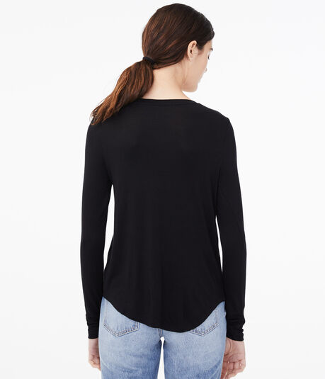 Long Sleeve Seriously Soft Floral Embroidered Crew Tee