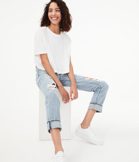 Real Denim Low-Rise Destroyed Boyfriend Ankle Jean