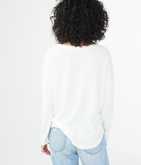 LLD Long Sleeve Solid Waffle Knit Top