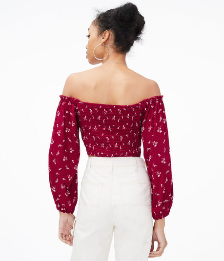 Floral Lace-up Off-The-Shoulder Crop Top