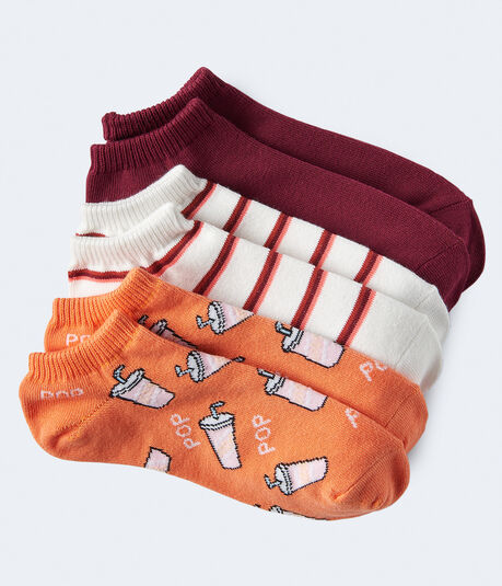3-Pack Soda, Stripe & Solid Ankle Socks