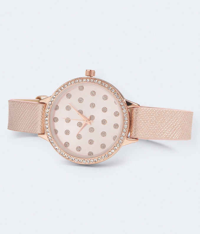 Faux Leather Round Polka Dot Analog Watch***