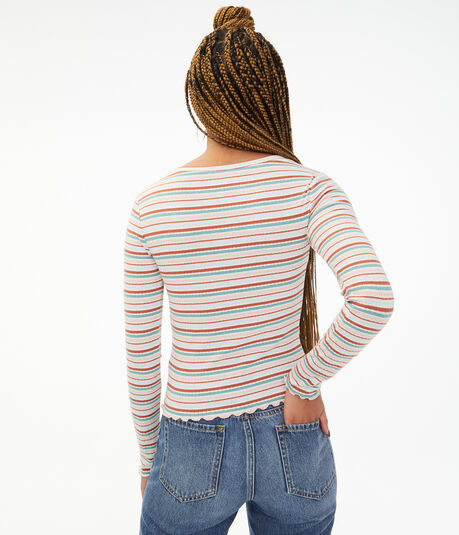 Long Sleeve Striped Ribbed Shrunken Tee