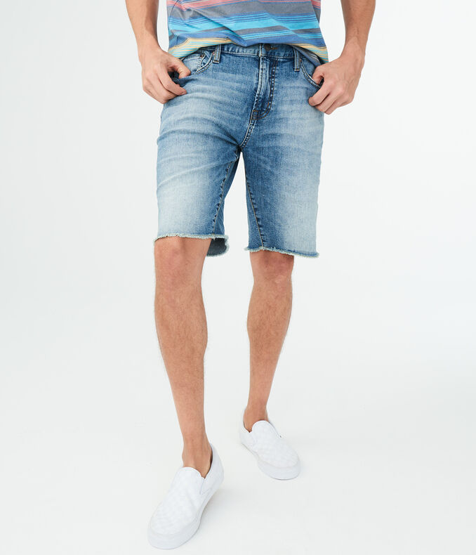 "Medium Wash Stretch 10"" Denim Cut-Off Shorts"