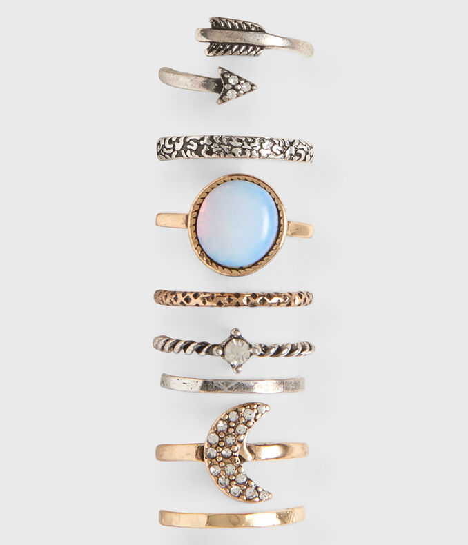 Crescent Moon Ring 8-Pack