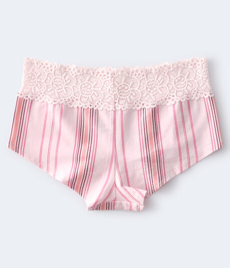 Striped Lace-Trim Boyshort