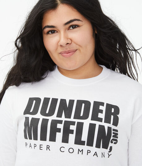 Long Sleeve Dunder Mifflin Cropped Graphic Tee