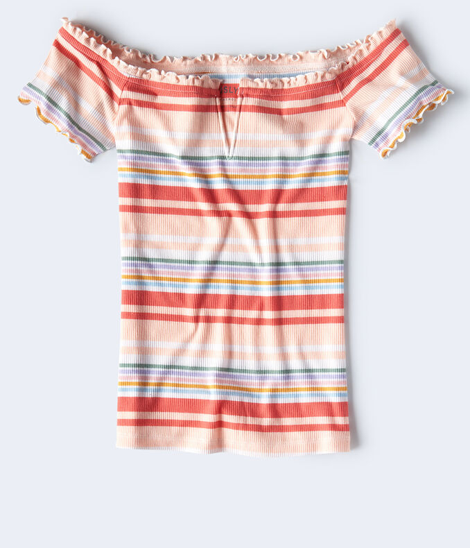 Seriously Soft Striped Lettuce-Trim V-Wire Top