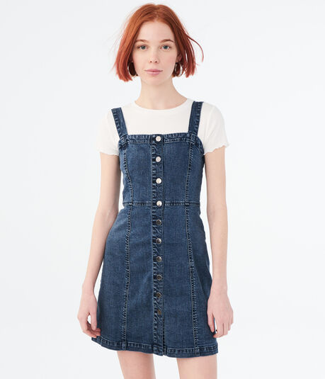 a090593f6798 ... Solid Button-Front A-Line Denim Dress