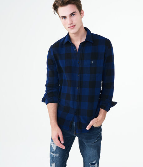 Long Sleeve Buffalo Check Flannel Woven Shirt