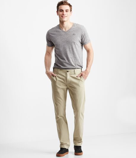 Slim Straight Flat-Front Chinos