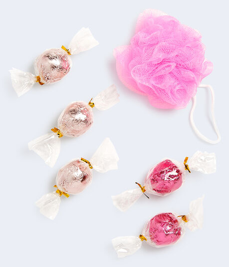 Sweet Holiday Wishes Shower Pouf & Bath Fizzers Set