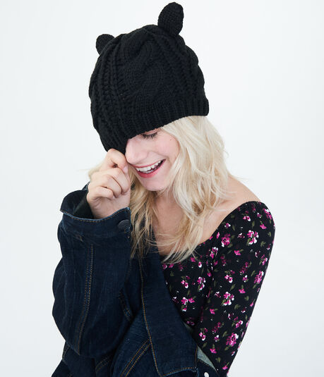 Cat Ears Cable-Knit Beanie