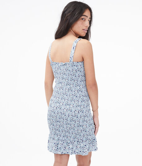 Floral Smocked Bodycon Dress