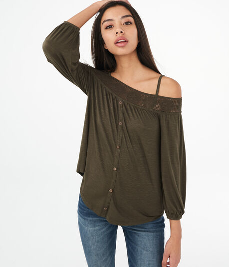 Long Sleeve Buttoned Cold-Shoulder Peasant Top