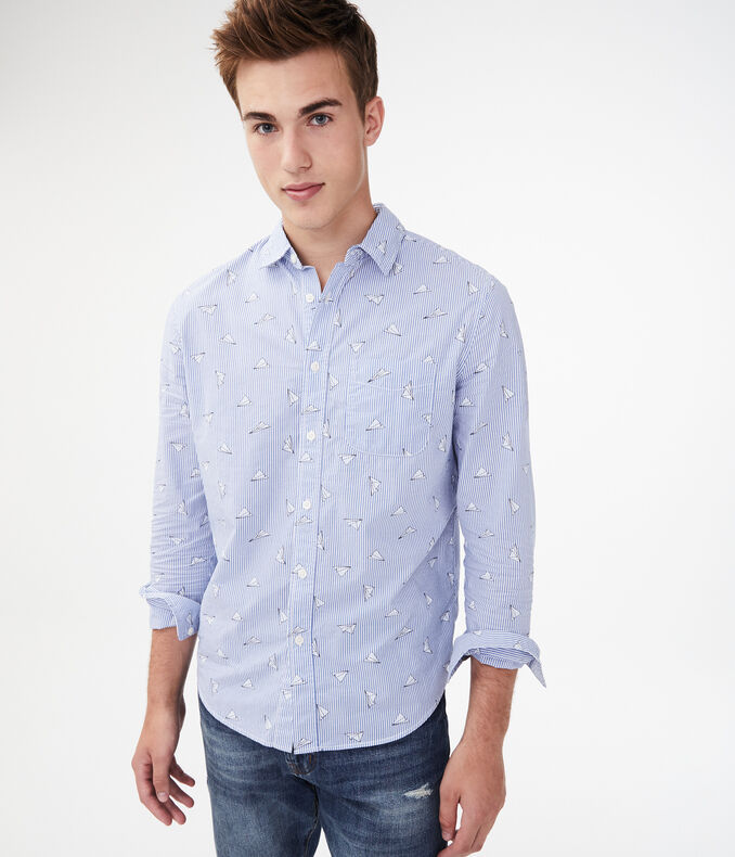 Long Sleeve Paper Plane Button-Down Shirt