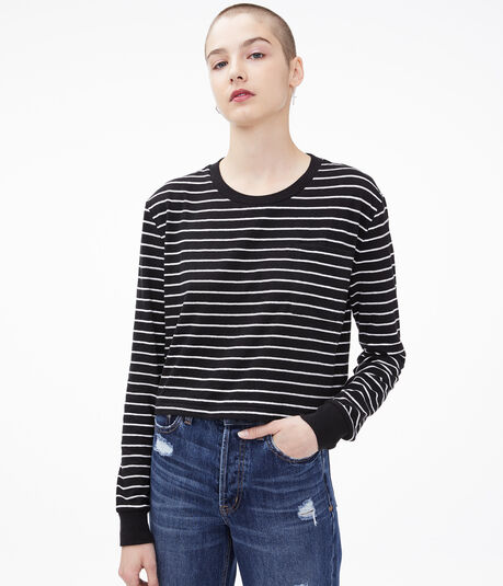 Long Sleeve Striped Boxy Cropped Pocket Tee