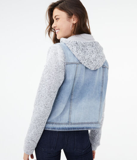 Light Wash Denim & Fleece Hooded Jacket