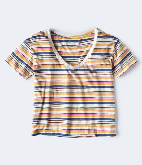 Striped A-Line V-Neck Tee